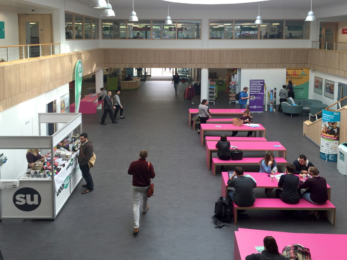 Refurbished social space at UEA Union House