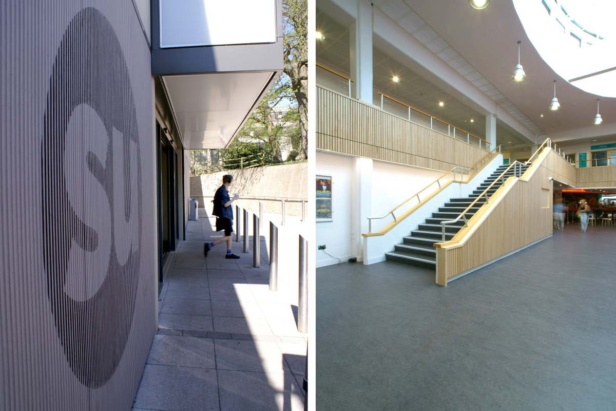 New entrance, cladding and signage at UEA Union House