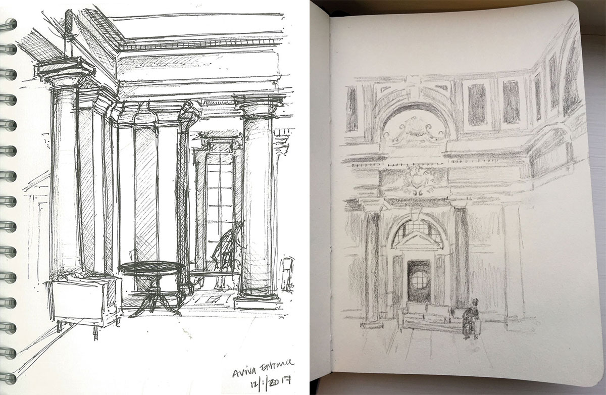 Sketch of Aviva's Marble Hall in Norwich by LSI Architects