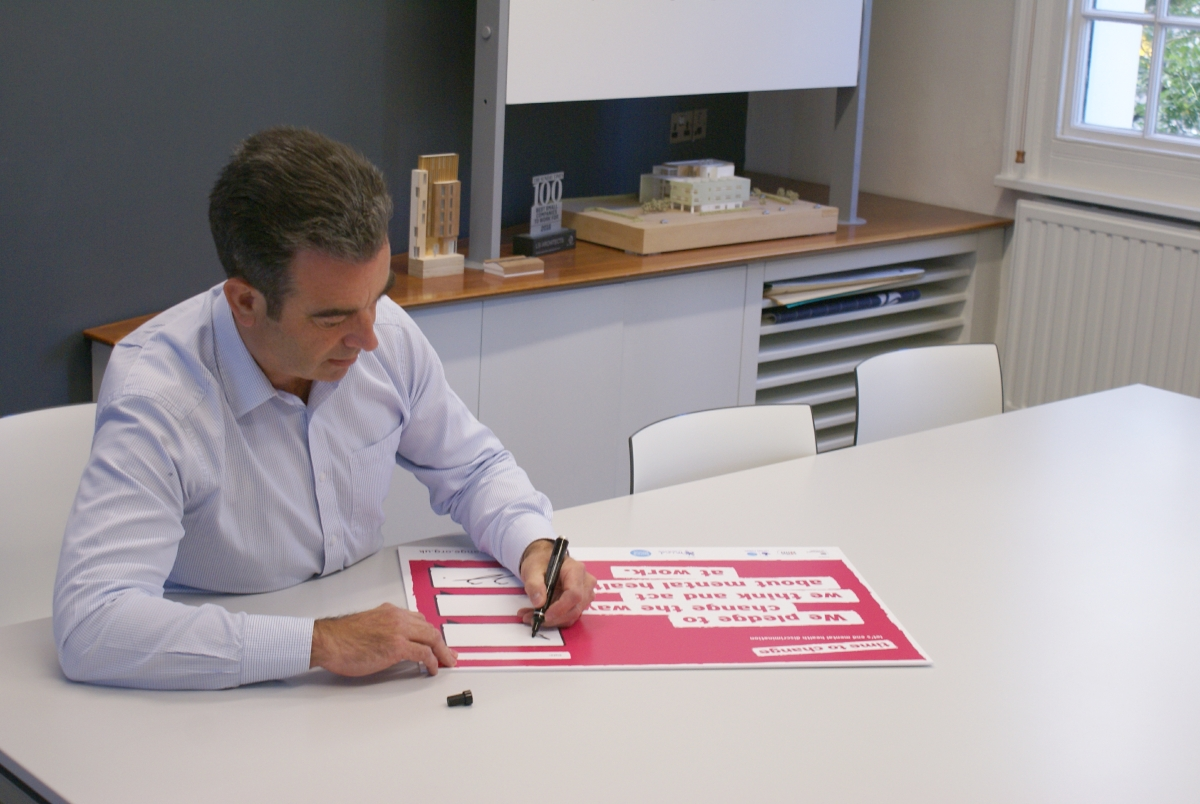Partner at LSI Architects David Andrews signs Time To Change Employer Pledge