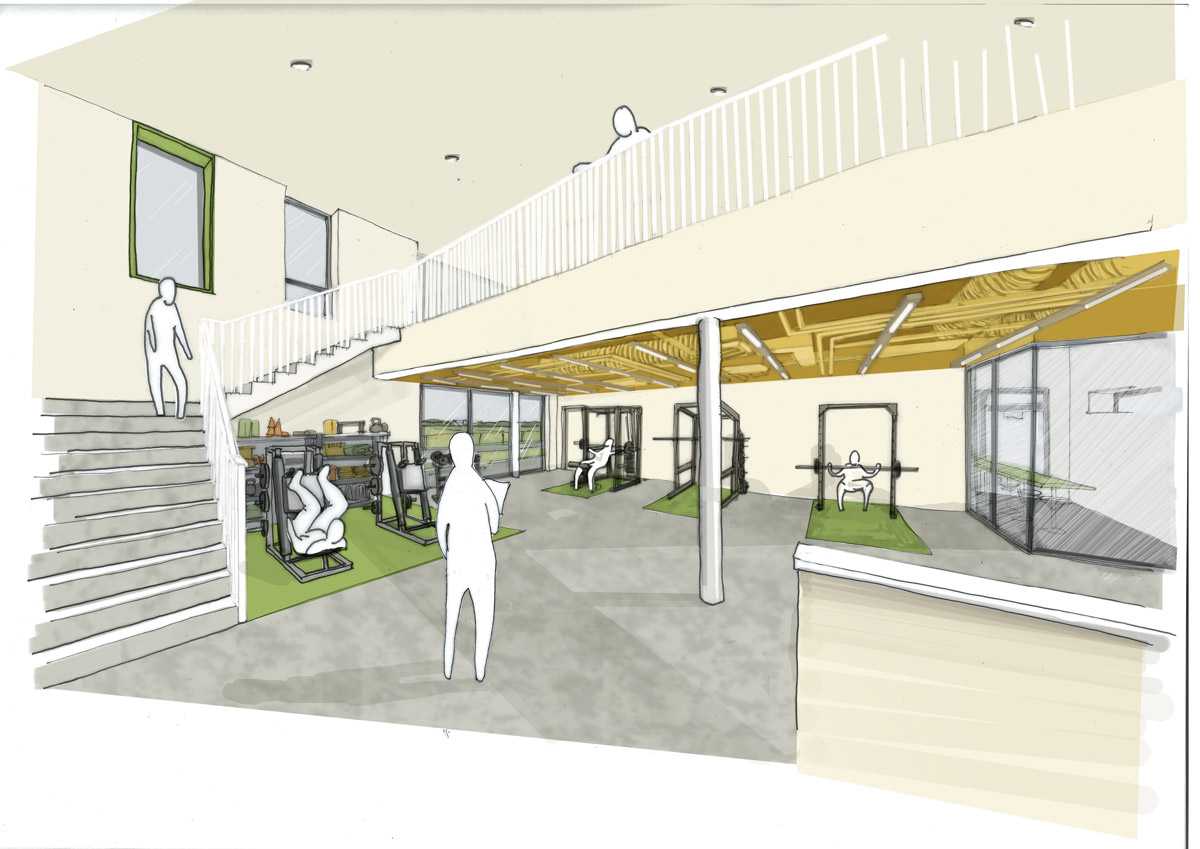 LSI Architects Norwich City Football Club Academy Building Gym Sketch
