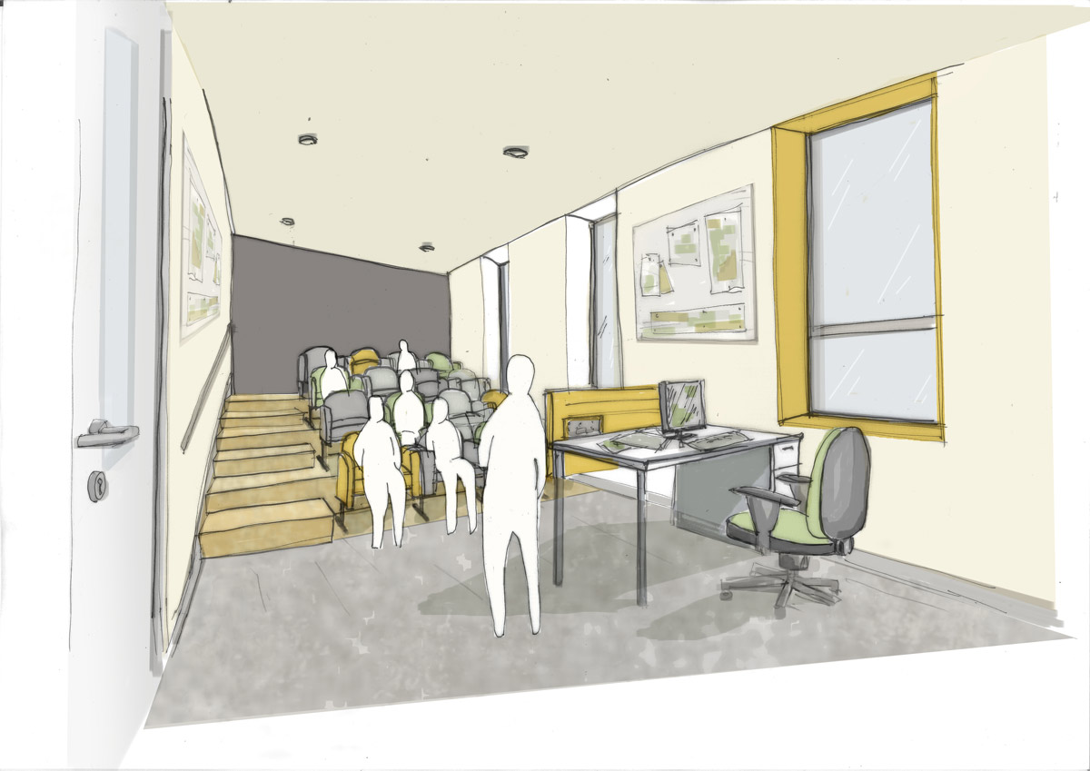 LSI Architects Norwich City Football Club Academy Building Match Analysis Room Sketch