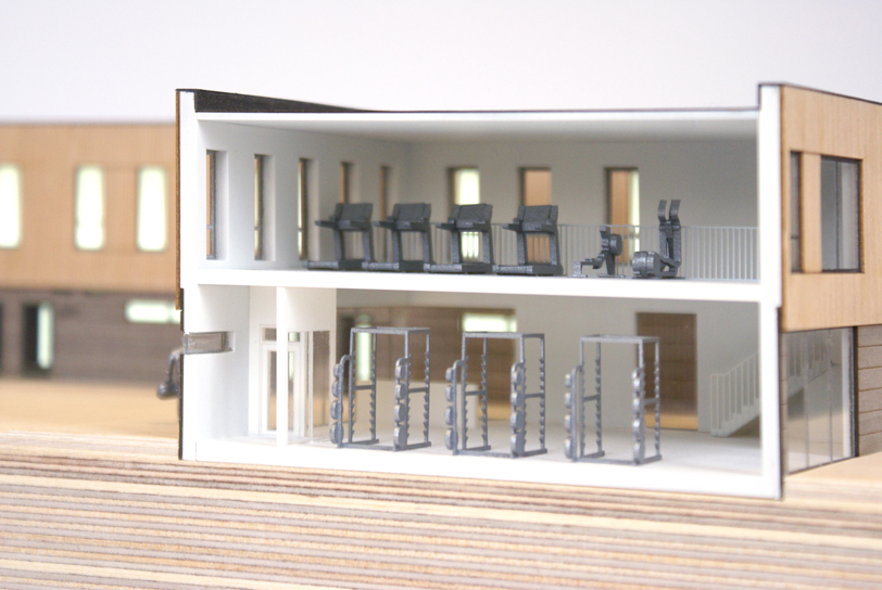 Architectural Model of the new Norwich City Football Club Academy Building including 1:100 gym equipment