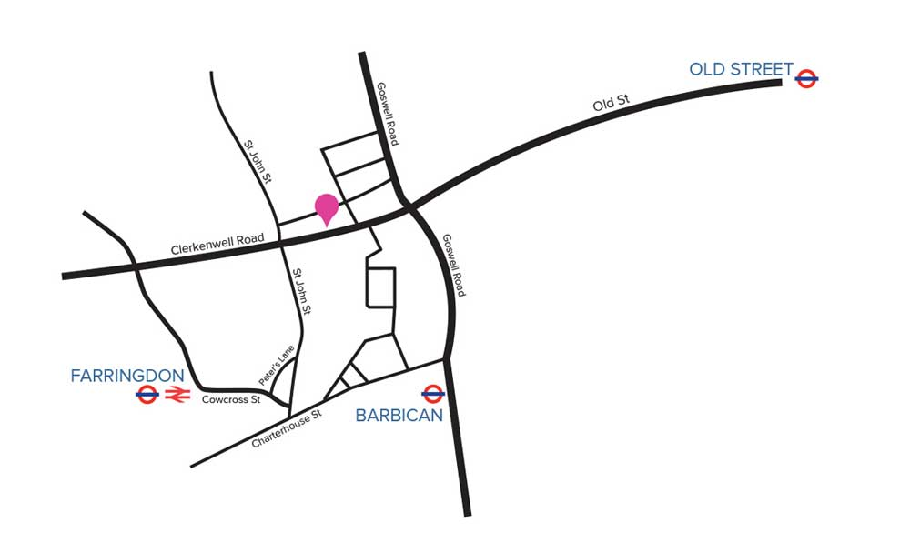 Map to LSI Architects London Studio in Clerkenwell