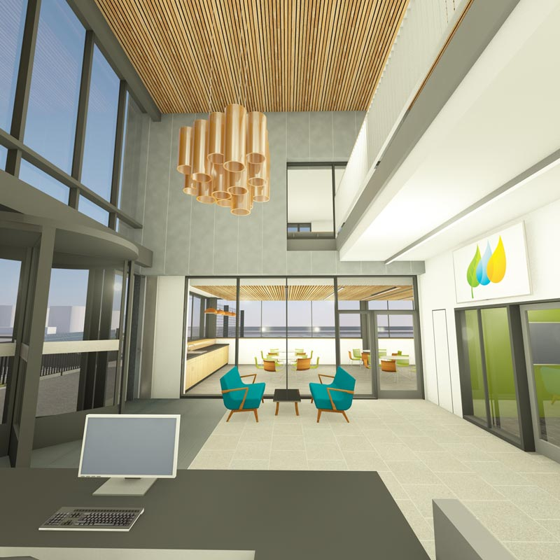 LSI Architects Visualisation of the East Anglia One Windfarm Operations Base Reception