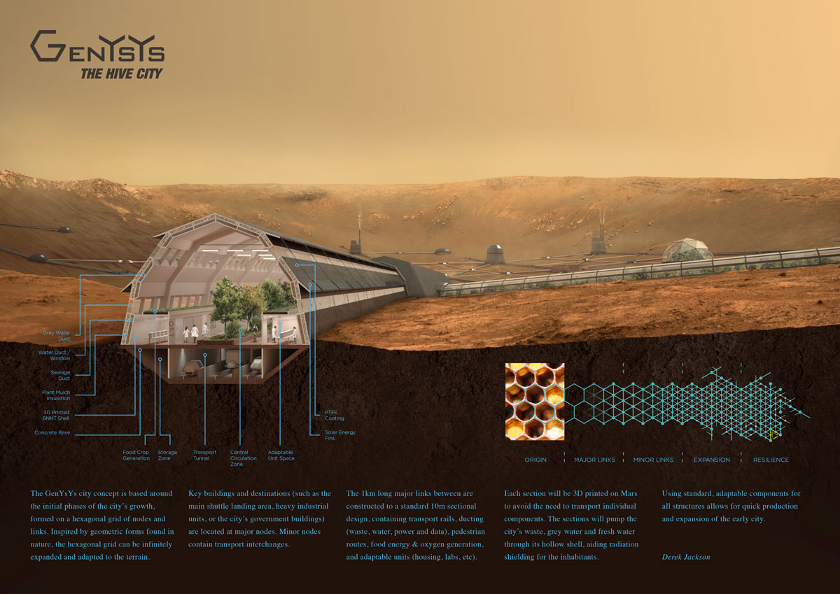 LSI Architects' Visualisation Manager Derek Jackson's Section Render for the HP Mars Home Planet Competition