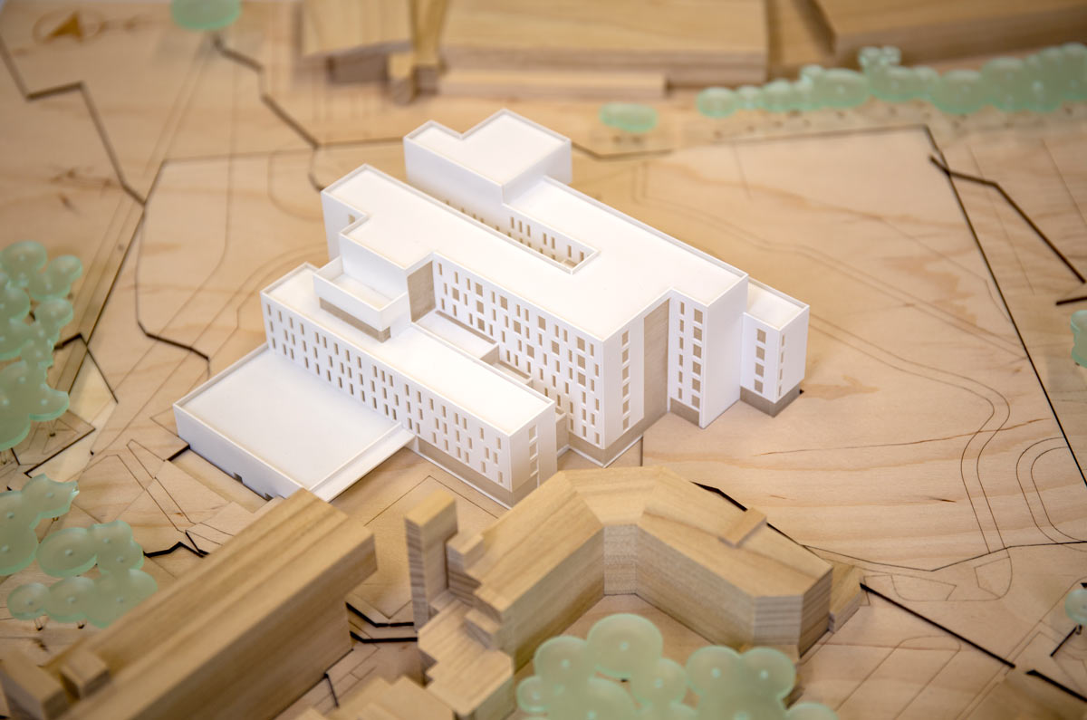 1:500 timber model of The Sky House, a new teaching facility at The University of East Anglia