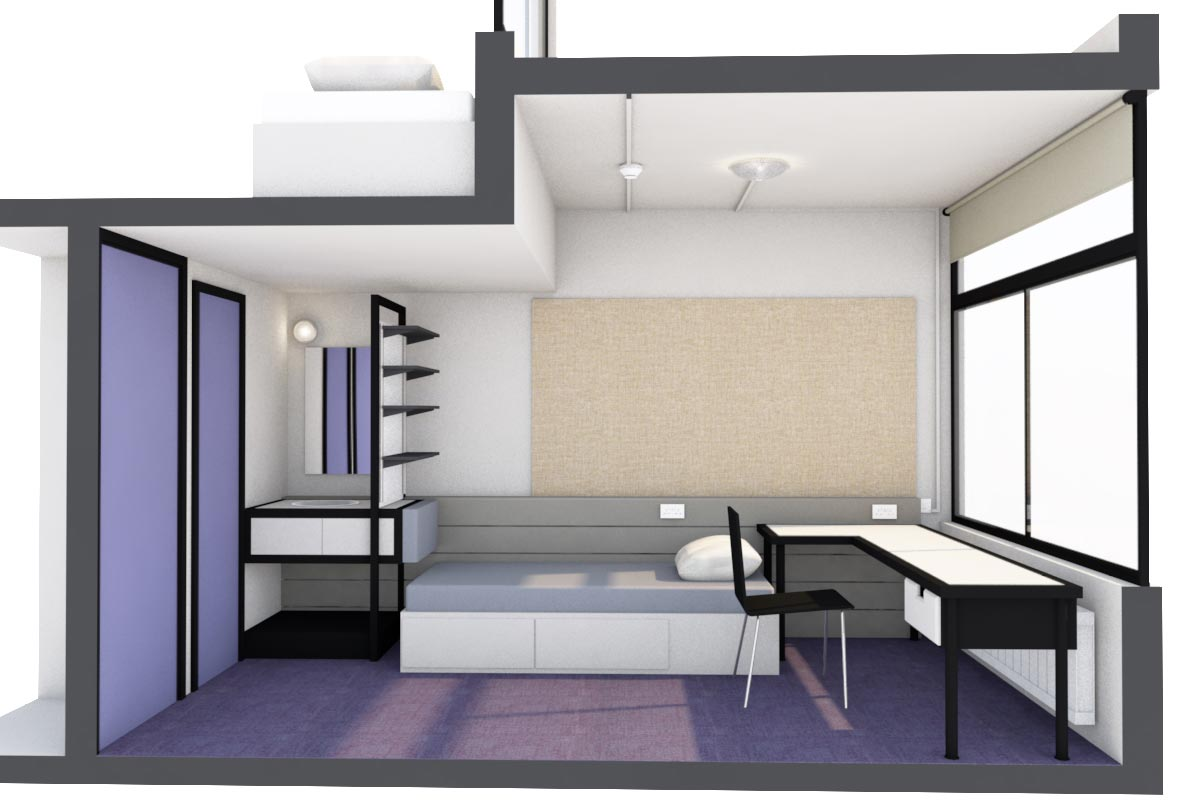 LSI Architects: UEA Suffolk Terrace Refurb, Proposed Bedroom